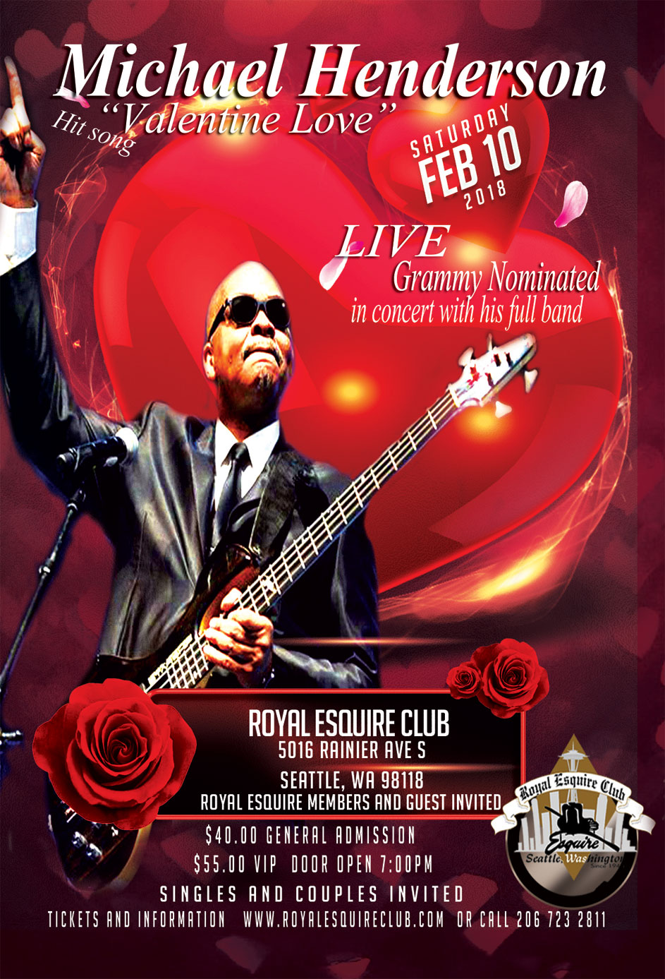 Michael Henderson with full live band Valentine Love concert – Royal